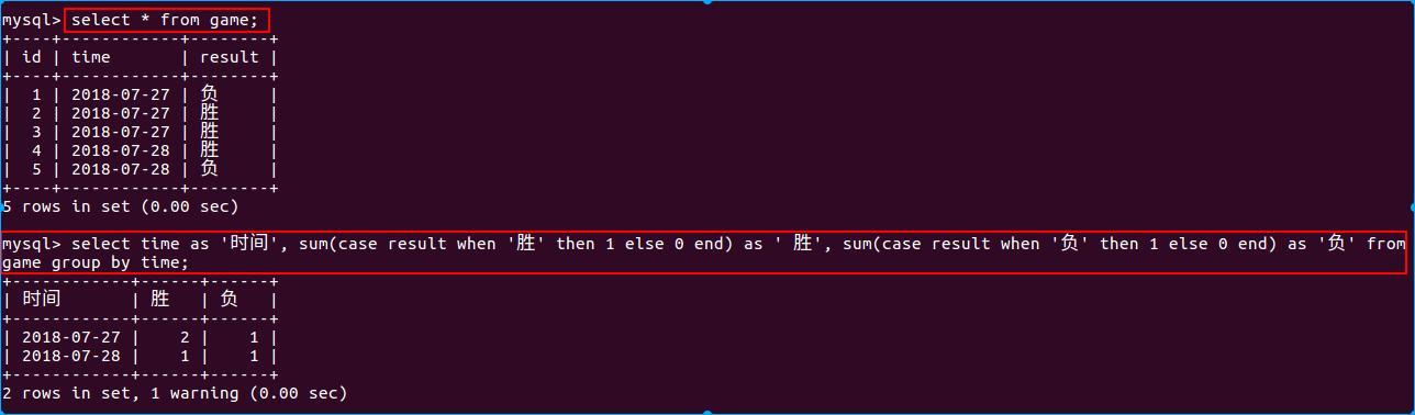 查game表的胜负次数(sum函数法)